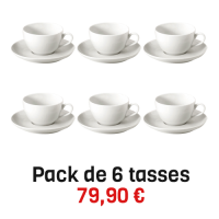 6 tasses & soucoupes grand café Pillivuyt blanches 18 cl